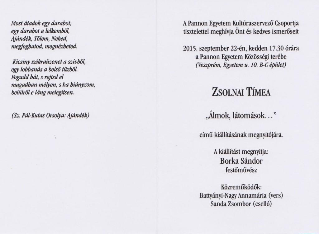 Meghívó Zsolnai Timi kiállítás 2015.09.22