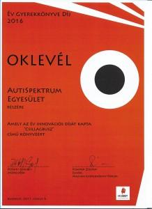 Oklevél 'Év gyermekkönyve díj 2016' díj
